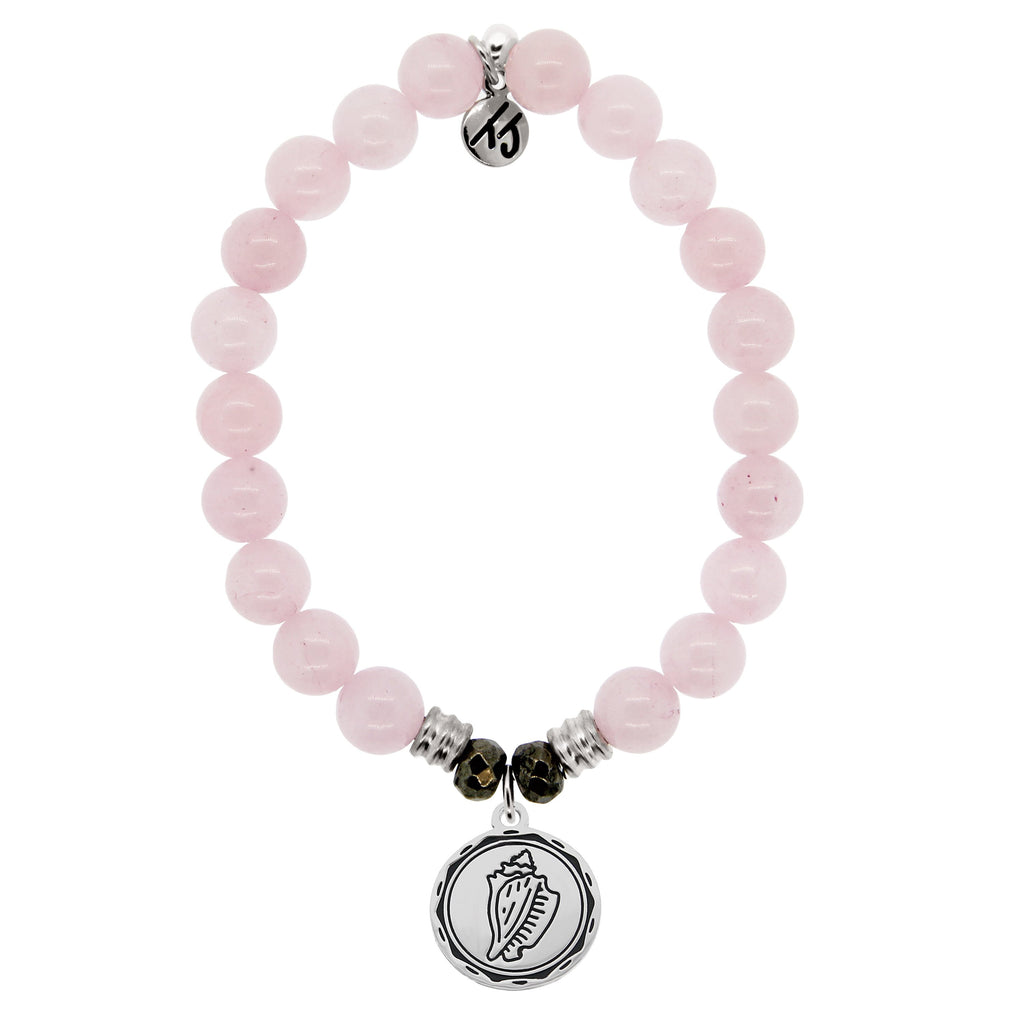 Rose Quartz Stone Bracelet with Conch Shell Sterling Silver Charm