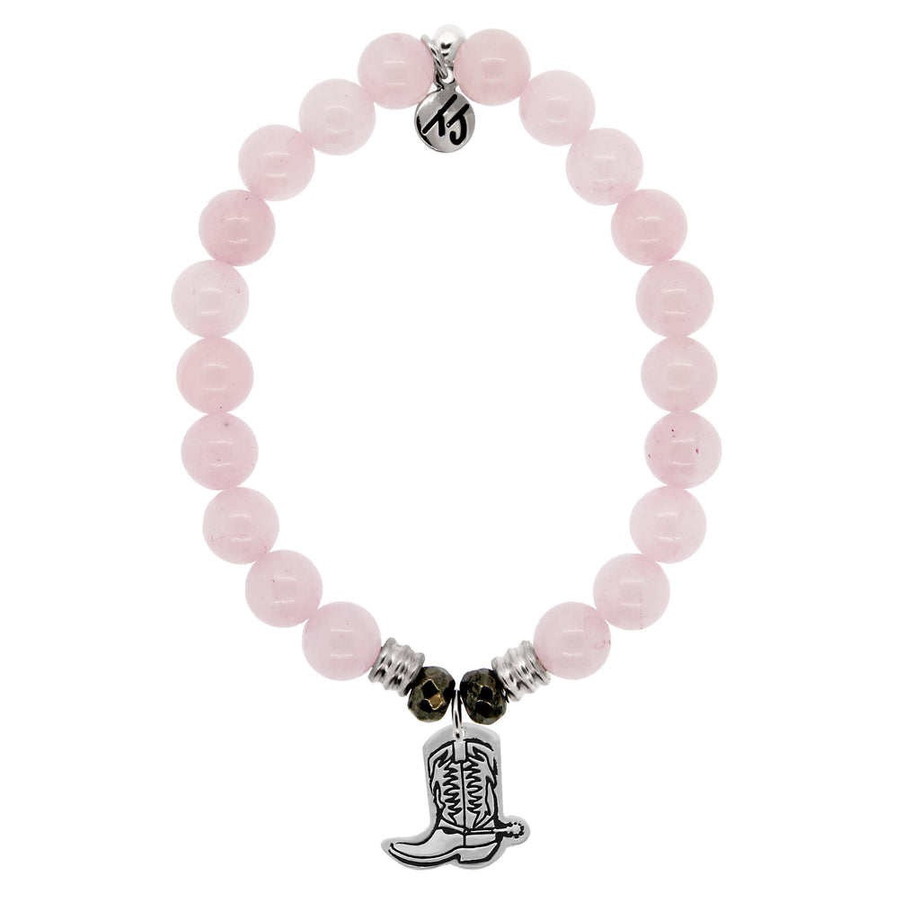 Rose Quartz Stone Bracelet with Cowboy Boot Sterling Silver Charm