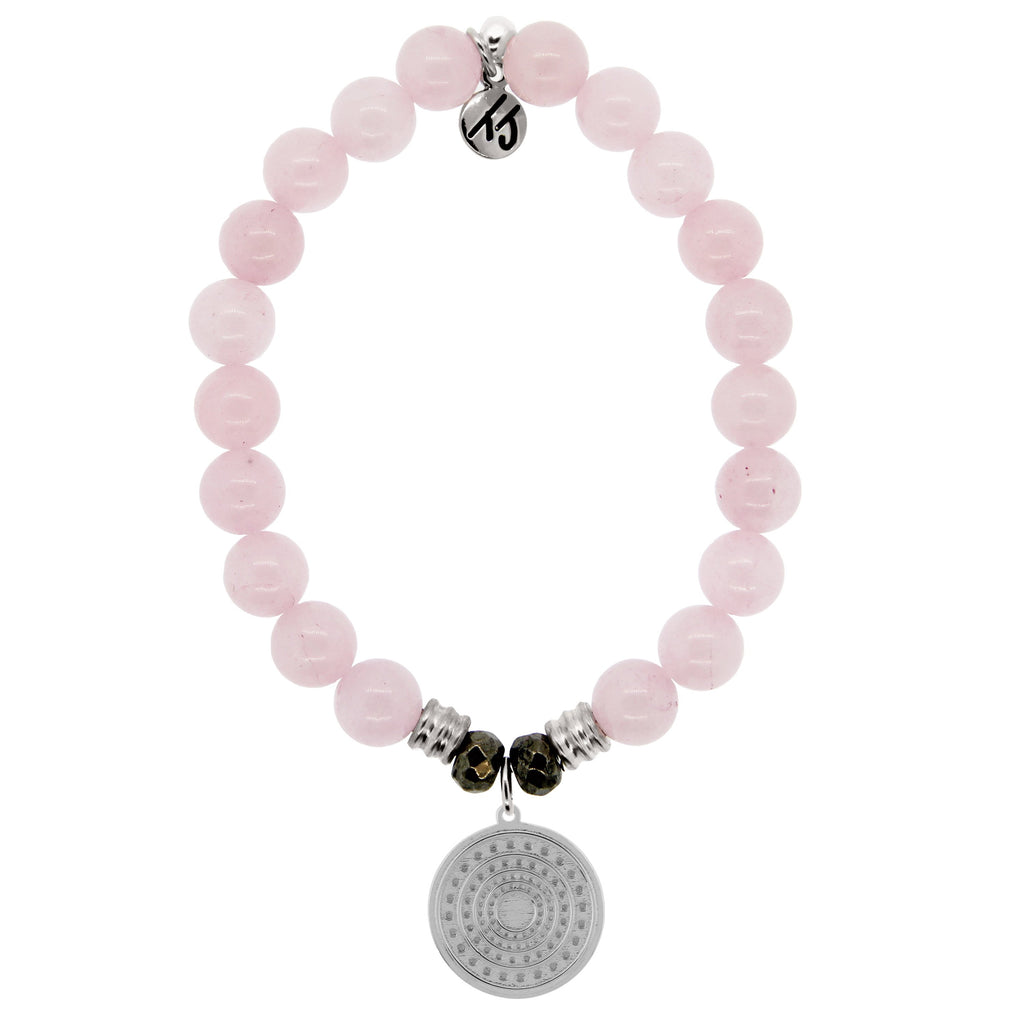 Rose Quartz Stone Bracelet with Family Circle Sterling Silver Charm