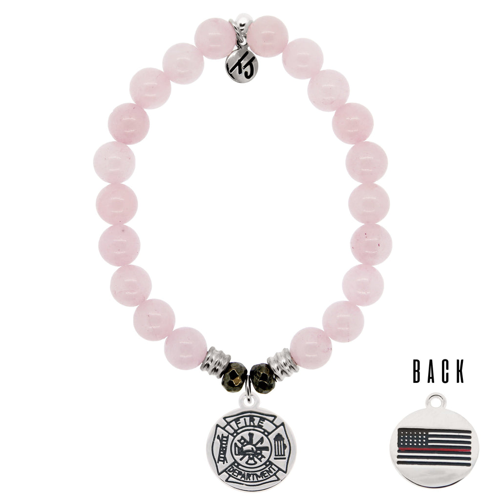 Rose Quartz Stone Bracelet with Firefighter Sterling Silver Charm