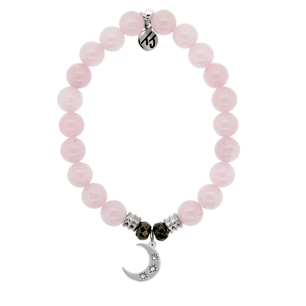 Rose Quartz Stone Bracelet with Friendship Stars Sterling Silver Charm