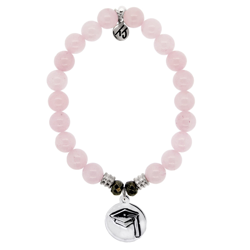 Rose Quartz Stone Bracelet with Grad Cap Sterling Silver Charm
