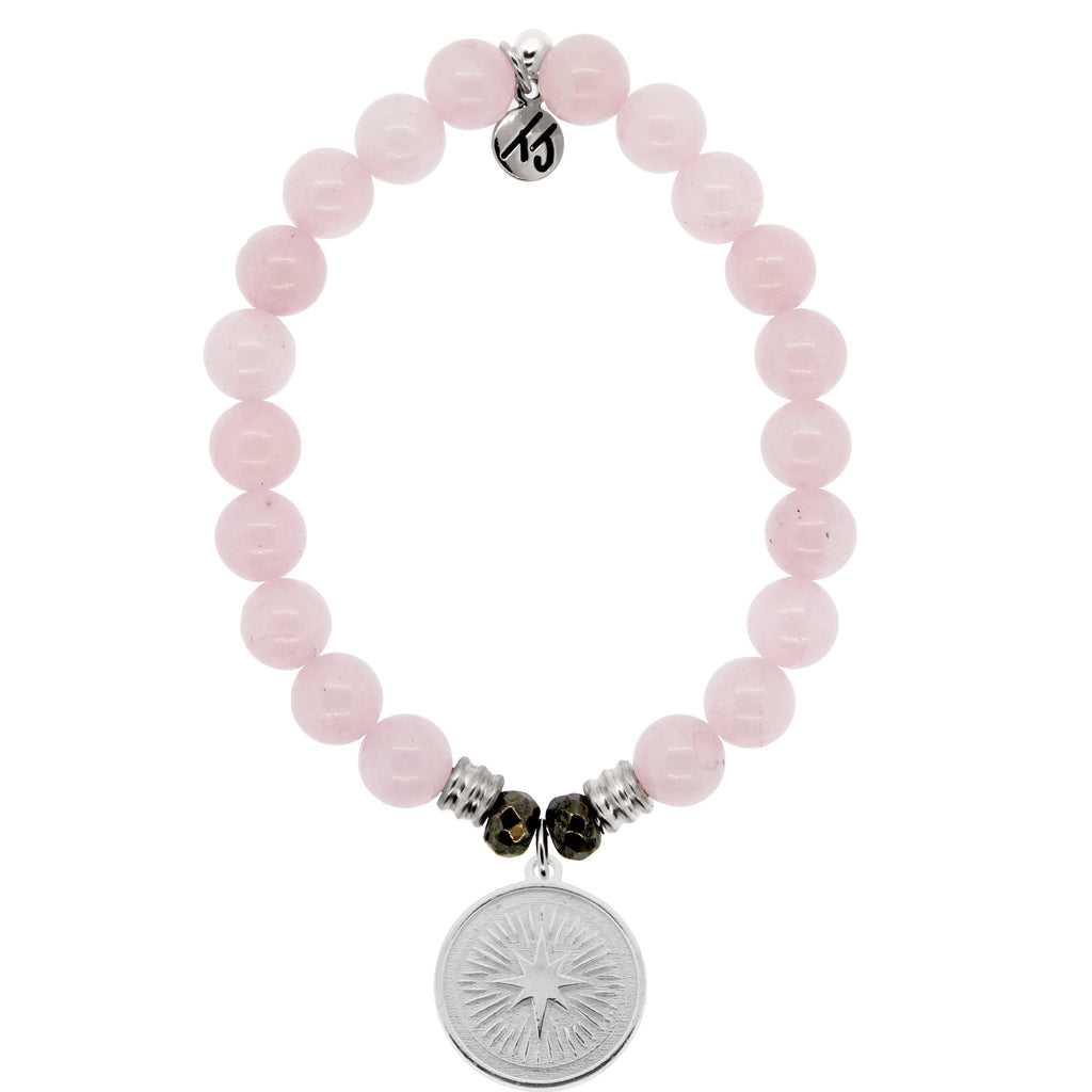 Rose Quartz Stone Bracelet with Guidance Sterling Silver Charm