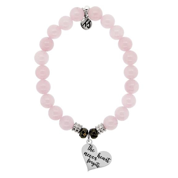Rose Quartz Stone Bracelet with Heart Never Forgets Sterling Silver Charm