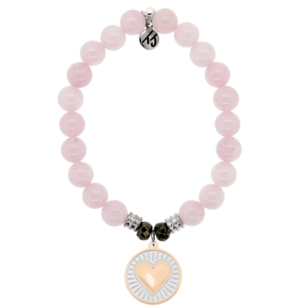 Rose Quartz Stone Bracelet with Heart of Gold Sterling Silver Charm