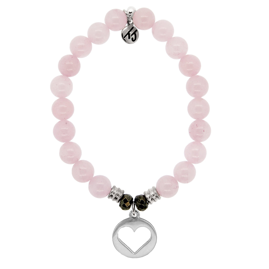 Rose Quartz Stone Bracelet with Heart Sterling Silver Charm