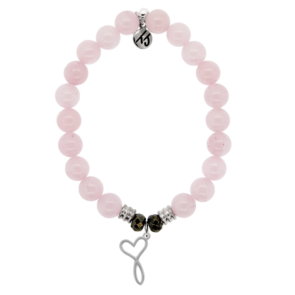 Rose Quartz Stone Bracelet with Infinity Heart Sterling Silver Charm