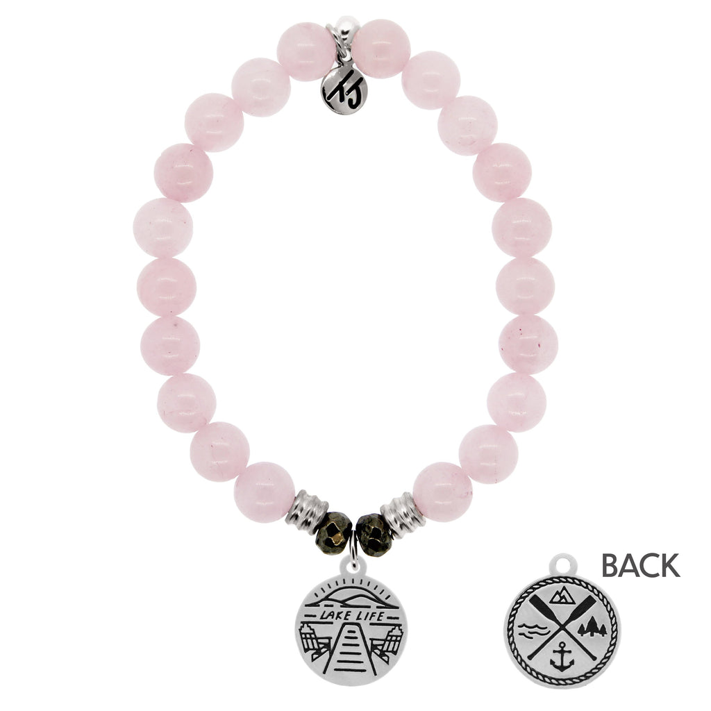 Rose Quartz Stone Bracelet with Lake Life Sterling Silver Charm