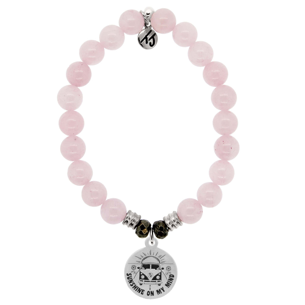 Rose Quartz Stone Bracelet with Life's a Journey Sterling Silver Charm