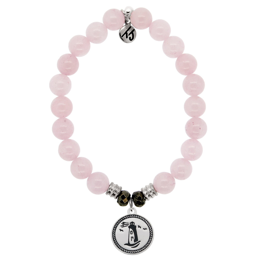 Rose Quartz Stone Bracelet with Lighthouse Sterling Silver Charm