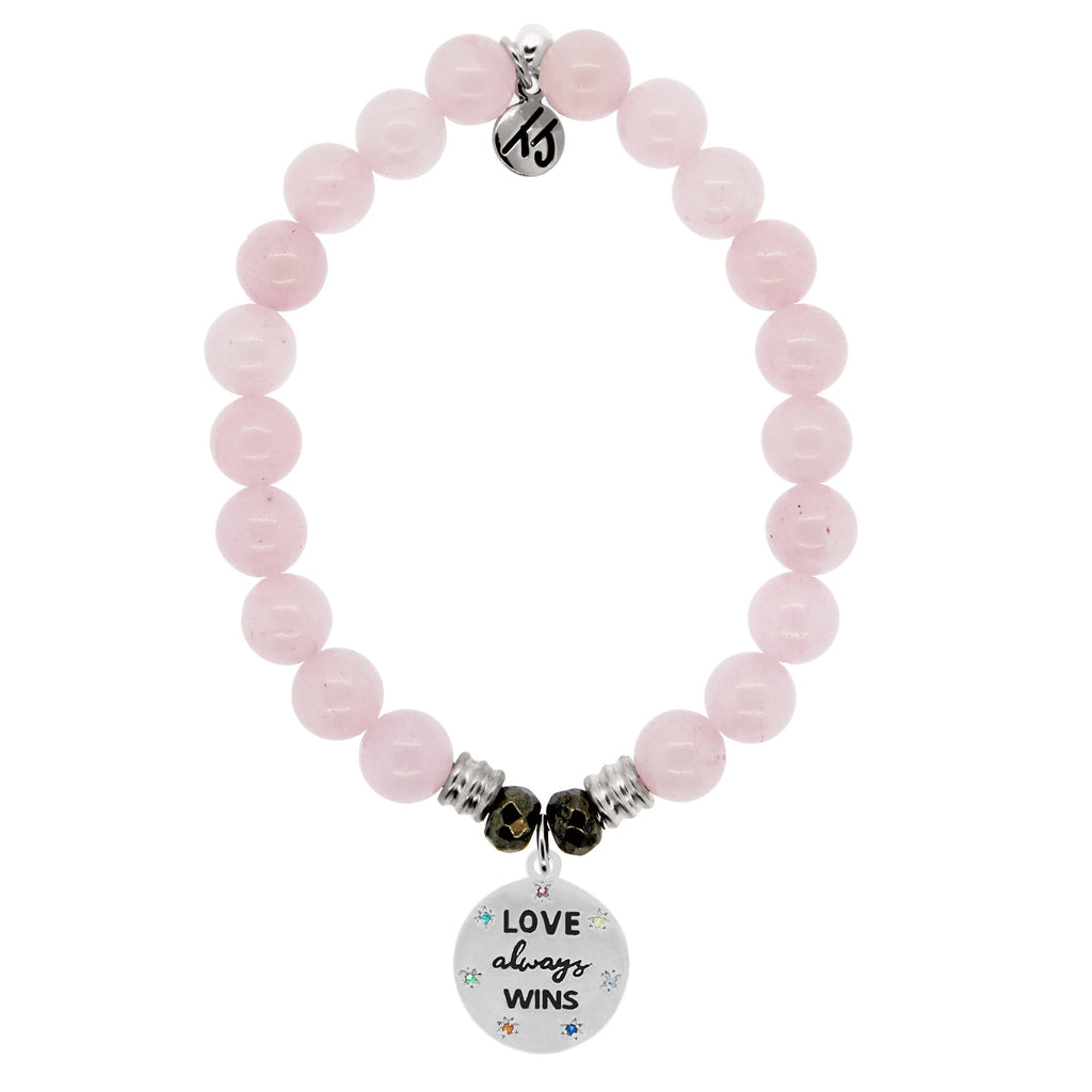 Rose Quartz Stone Bracelet with Love Always Wins Sterling Silver Charm
