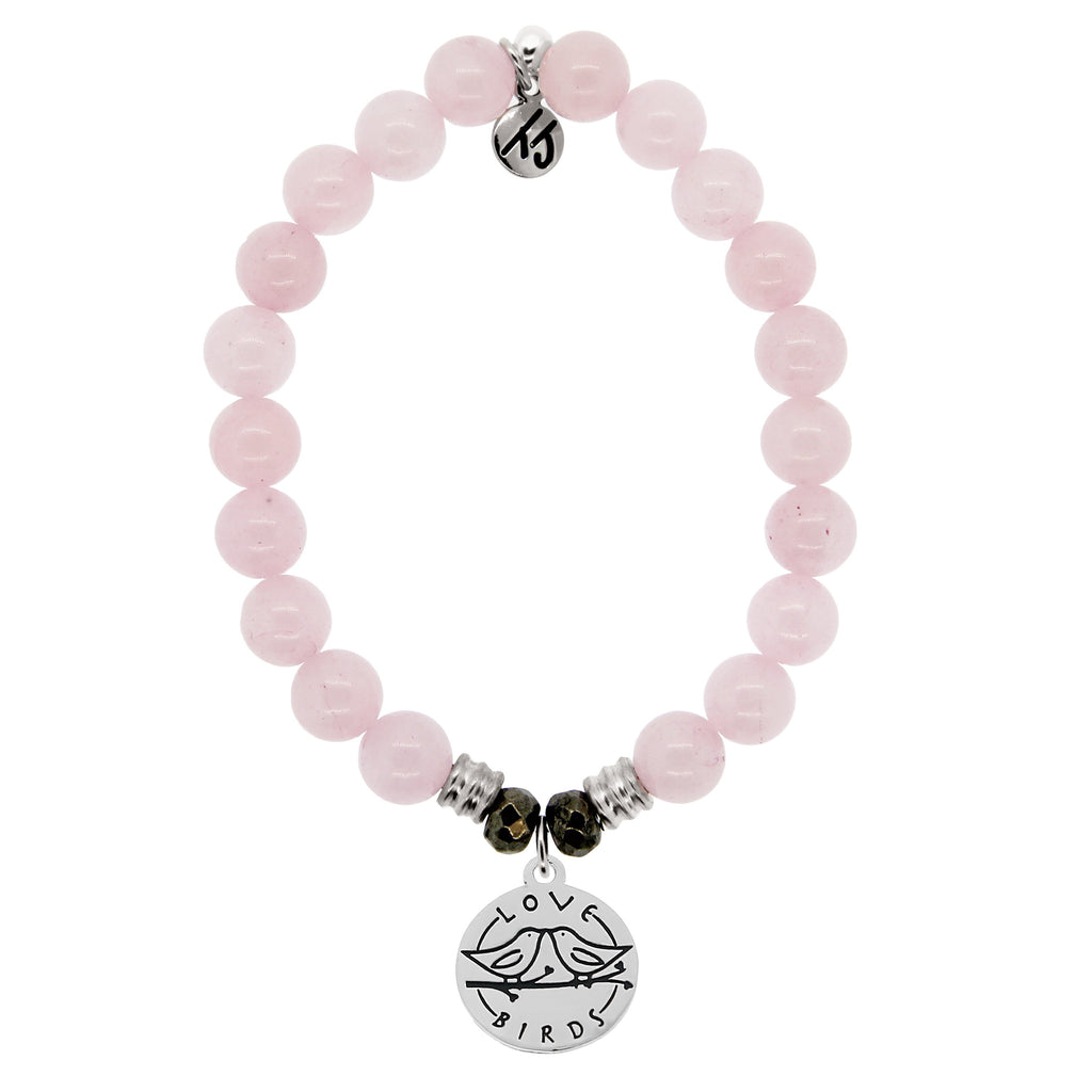 Rose Quartz Stone Bracelet with Love Birds Sterling Silver Charm