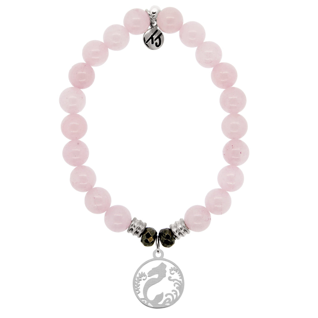 Rose Quartz Stone Bracelet with Mermaid Sterling Silver Charm