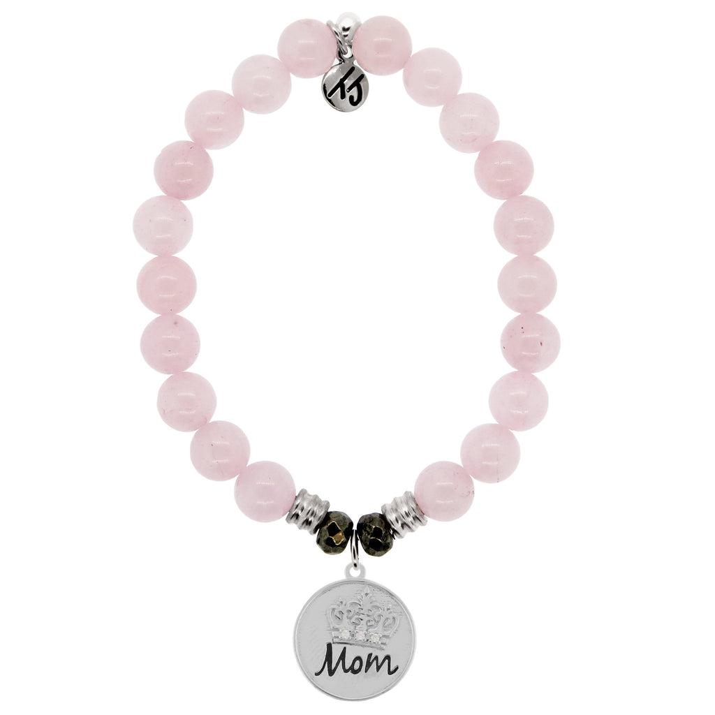 Rose Quartz Stone Bracelet with Mom Crown Sterling Silver Charm