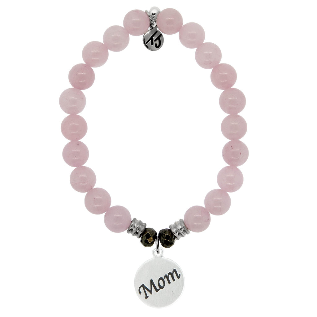 Rose Quartz Stone Bracelet with Mom Endless Love Sterling Silver Charm