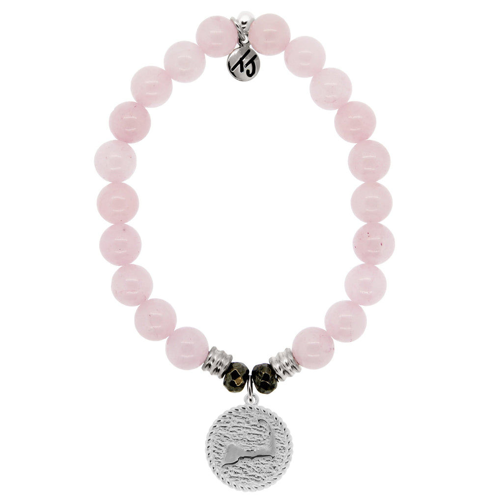 Rose Quartz Stone Bracelet with New Cape Cod Sterling Silver Charm