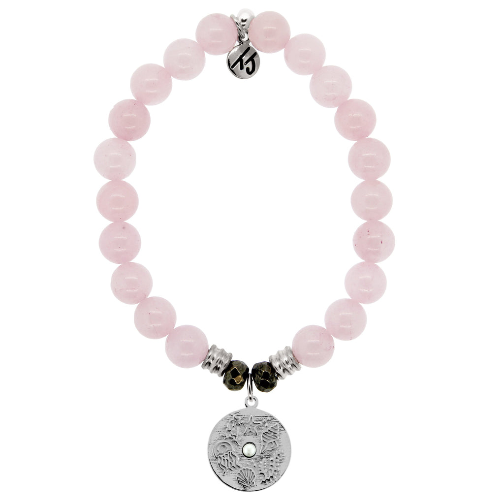 Rose Quartz Stone Bracelet with Ocean Lover Sterling Silver Charm
