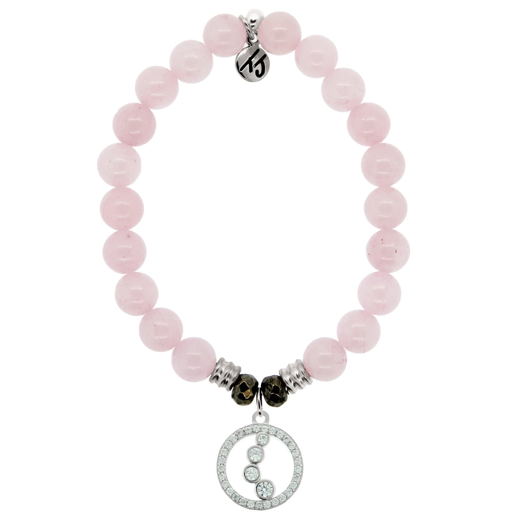 Rose Quartz Stone Bracelet with One Step At A Time Sterling Silver Charm