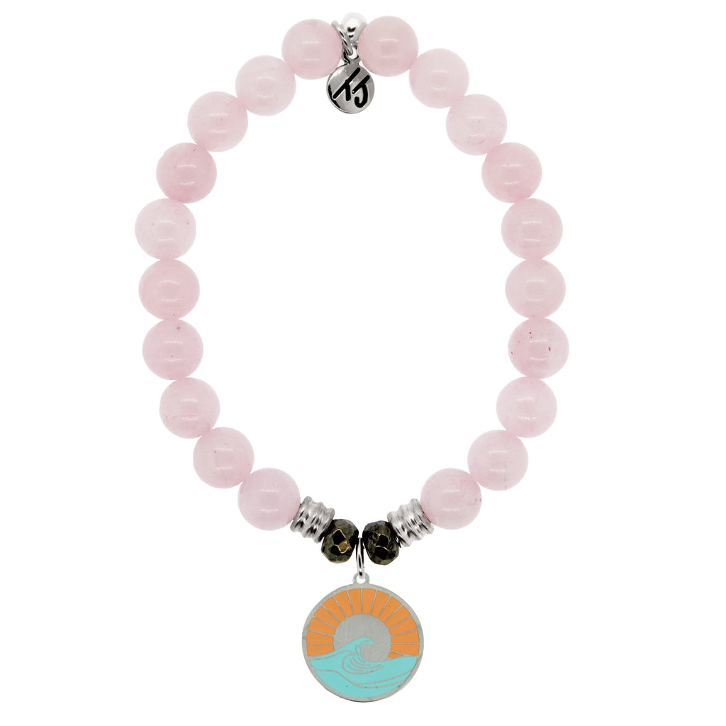 Rose Quartz Stone Bracelet with Paradise Sterling Silver Charm