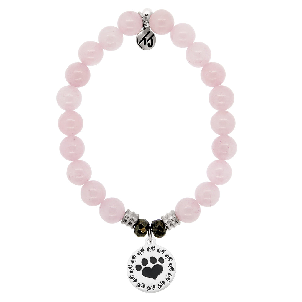 Rose Quartz Stone Bracelet with Paw Print Sterling Silver Charm