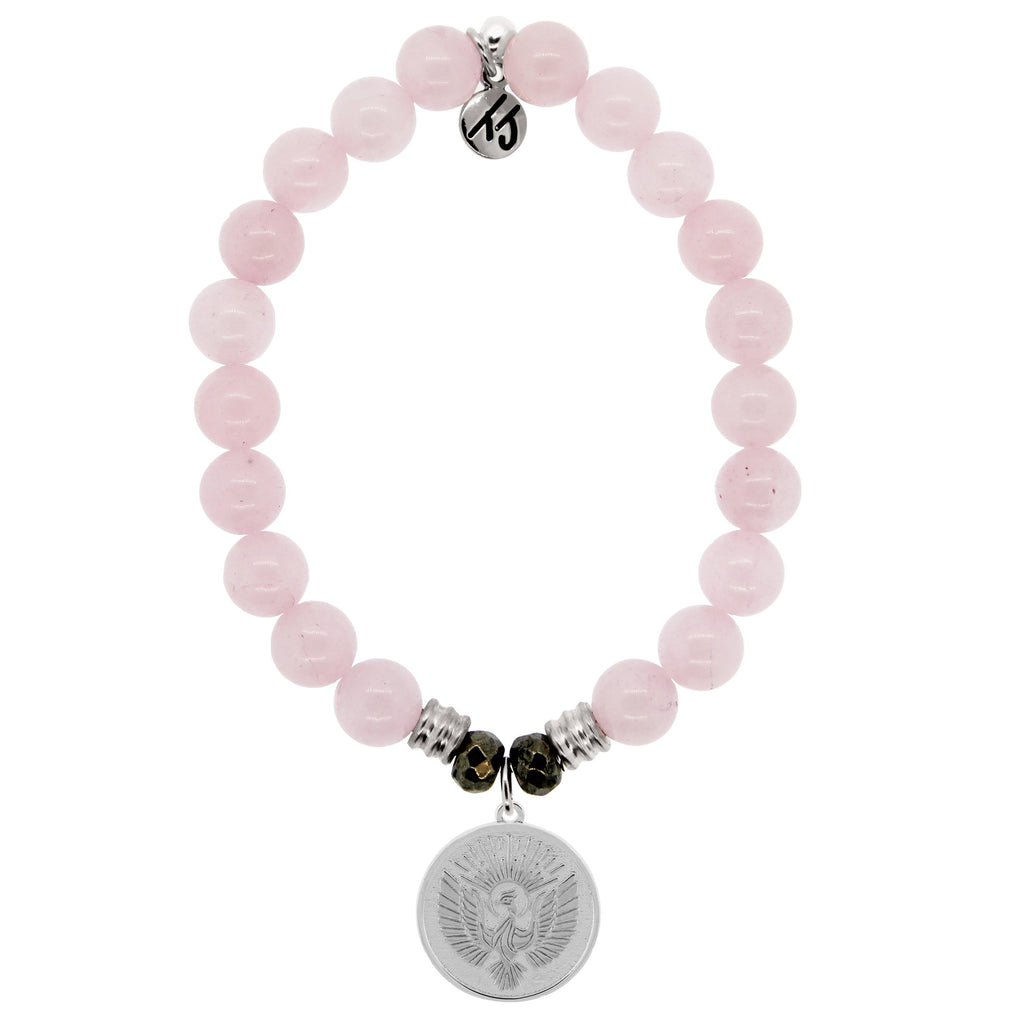 Rose Quartz Stone Bracelet with Phoenix Sterling Silver Charm