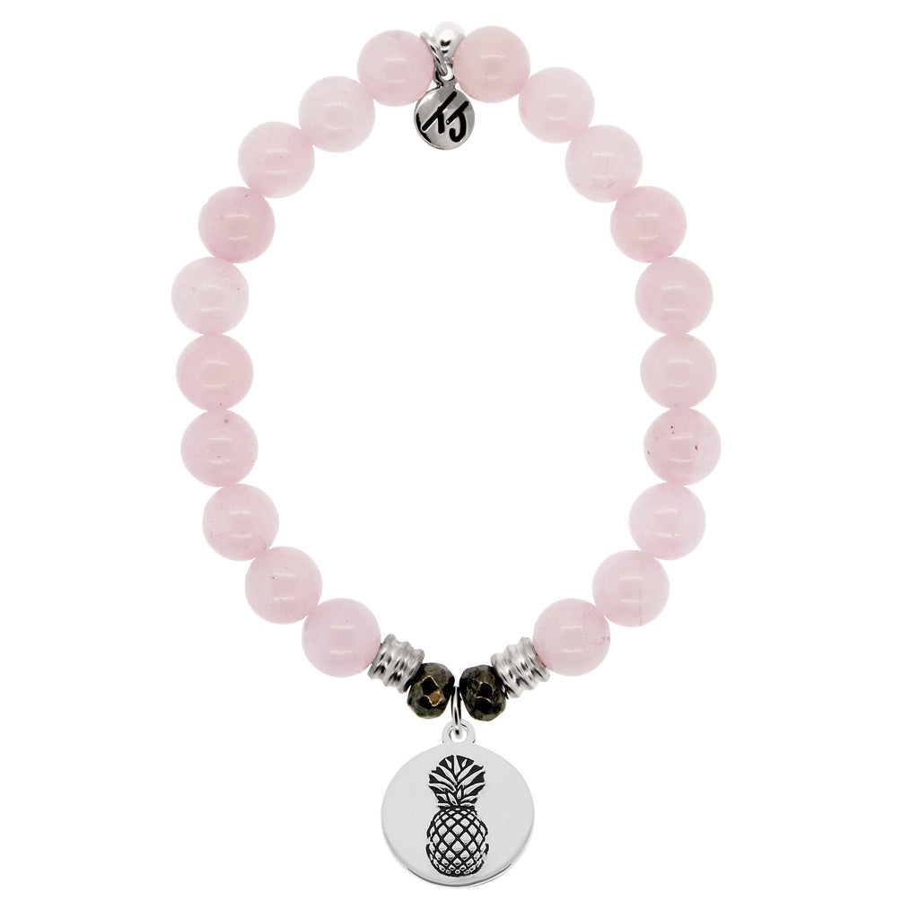 Rose Quartz Stone Bracelet with Pineapple Sterling Silver Charm