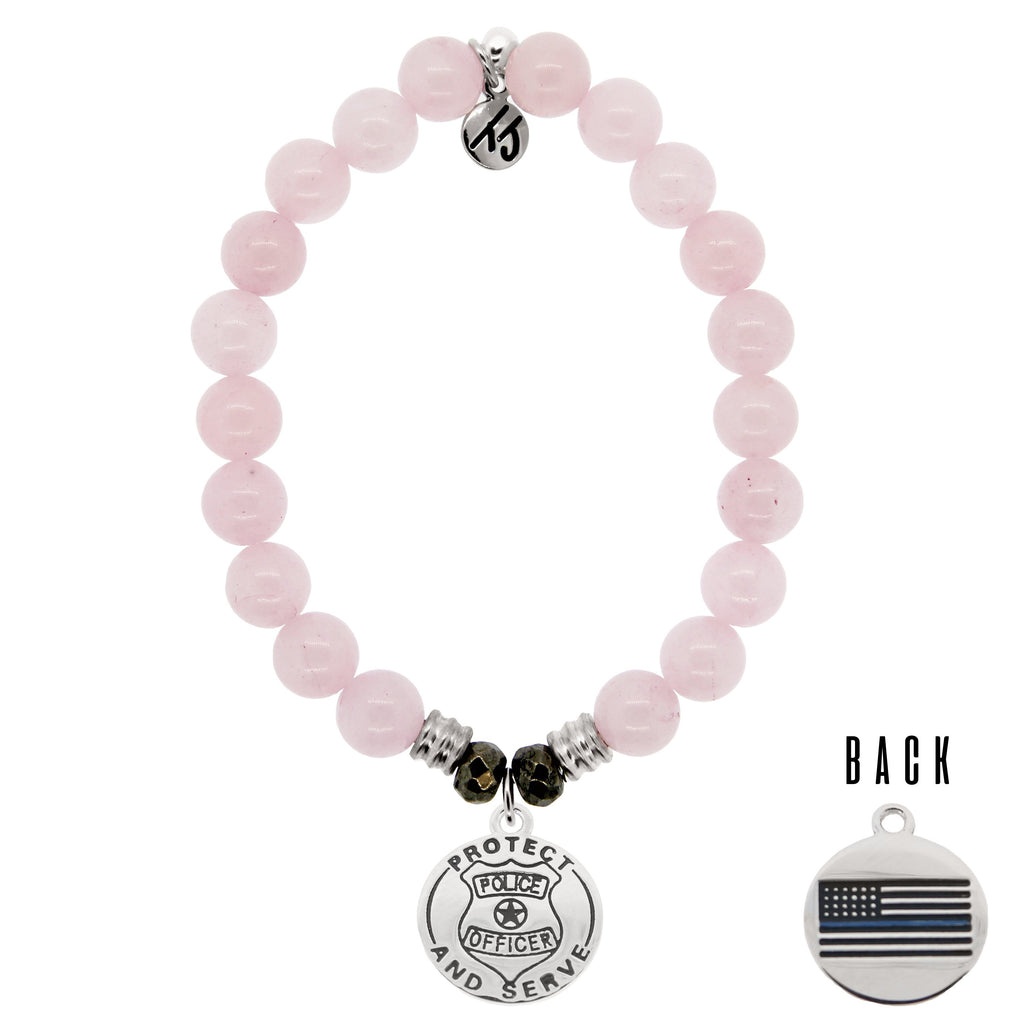 Rose Quartz Stone Bracelet with Police Sterling Silver Charm