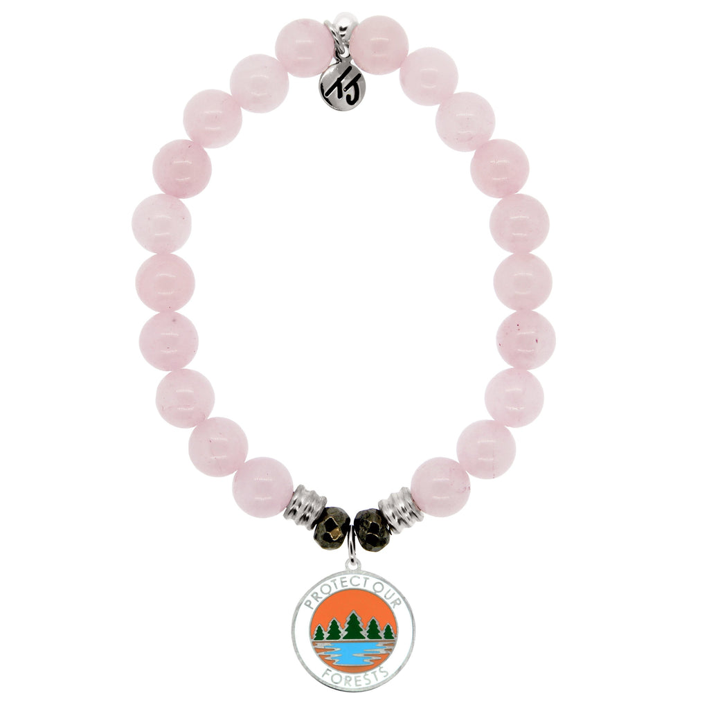 Rose Quartz Stone Bracelet with Protect Our Forest Sterling Silver Charm