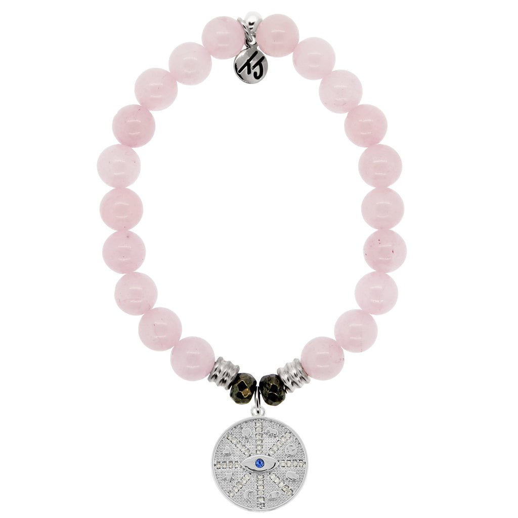 Rose Quartz Stone Bracelet with Protection Sterling Silver Charm
