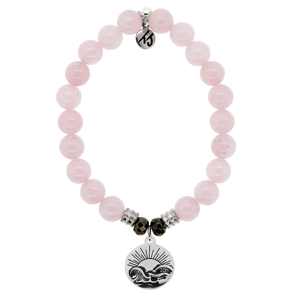 Rose Quartz Stone Bracelet with Rising Sun Sterling Silver Charm