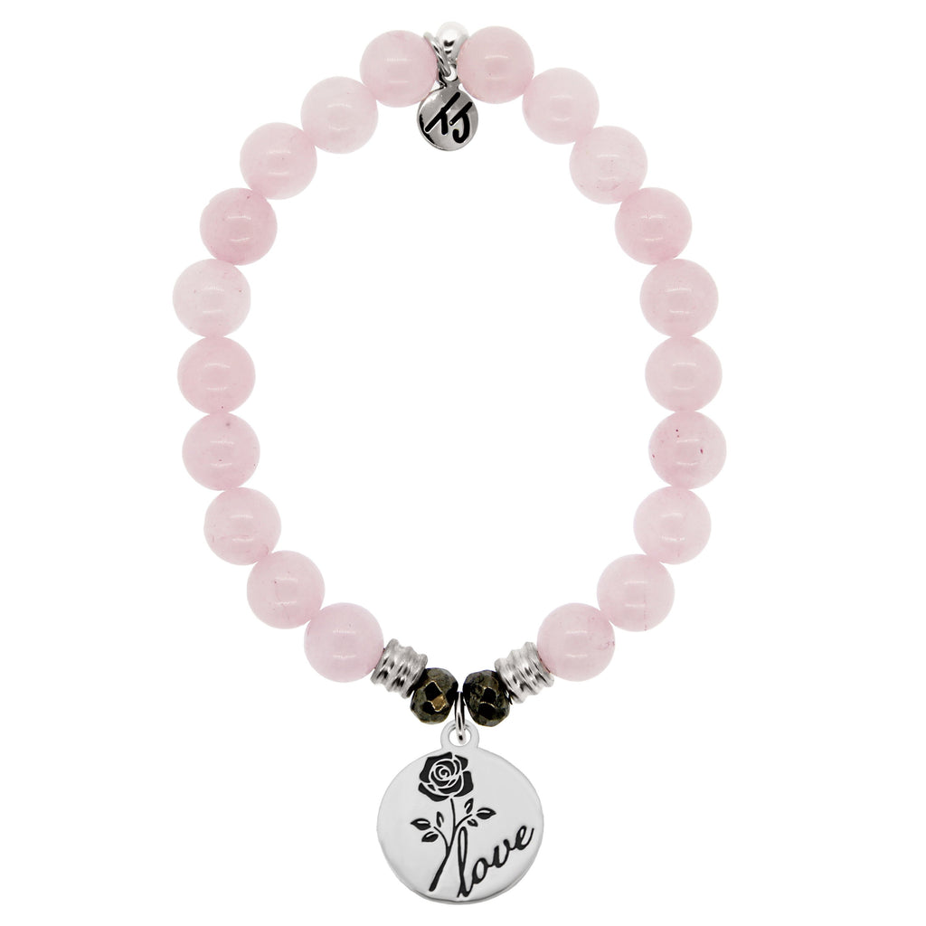 Rose Quartz Stone Bracelet with Rose Sterling Silver Charm