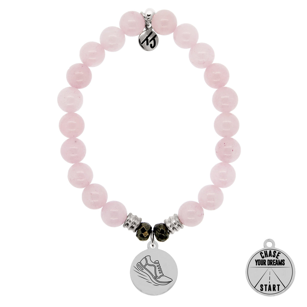 Rose Quartz Stone Bracelet with Run Your Own Race Sterling Silver Charm