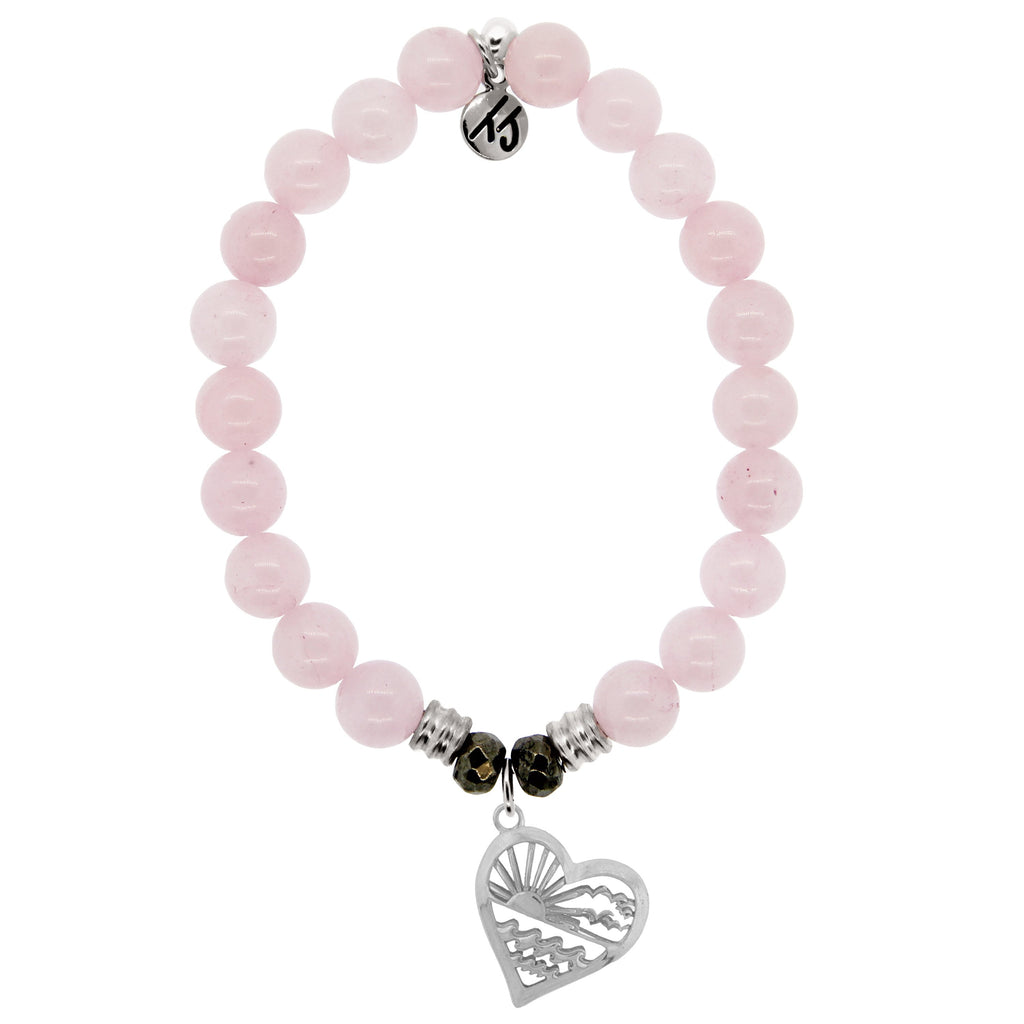 Rose Quartz Stone Bracelet with Seas the Day Sterling Silver Charm