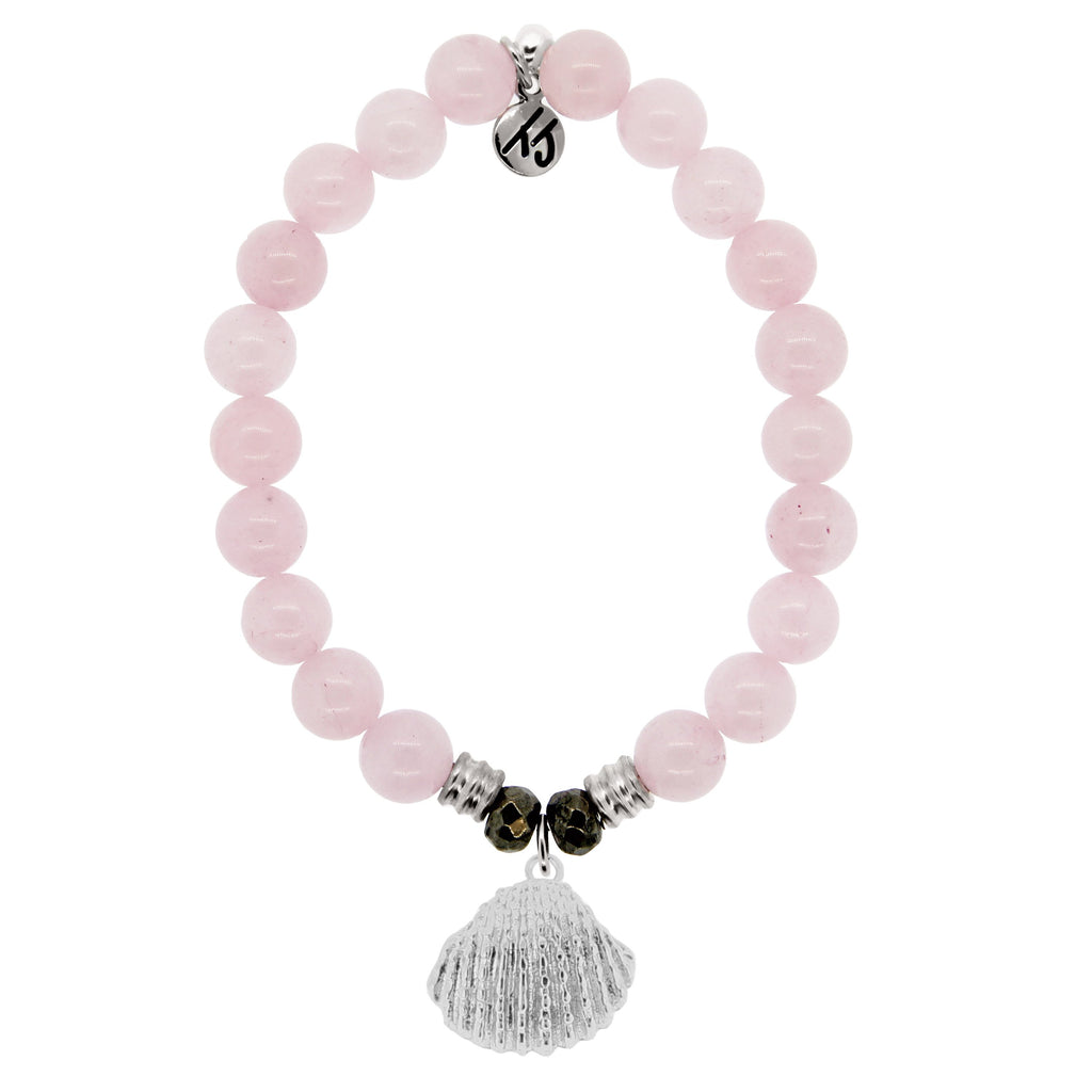 Rose Quartz Stone Bracelet with Seashell Sterling Silver Charm