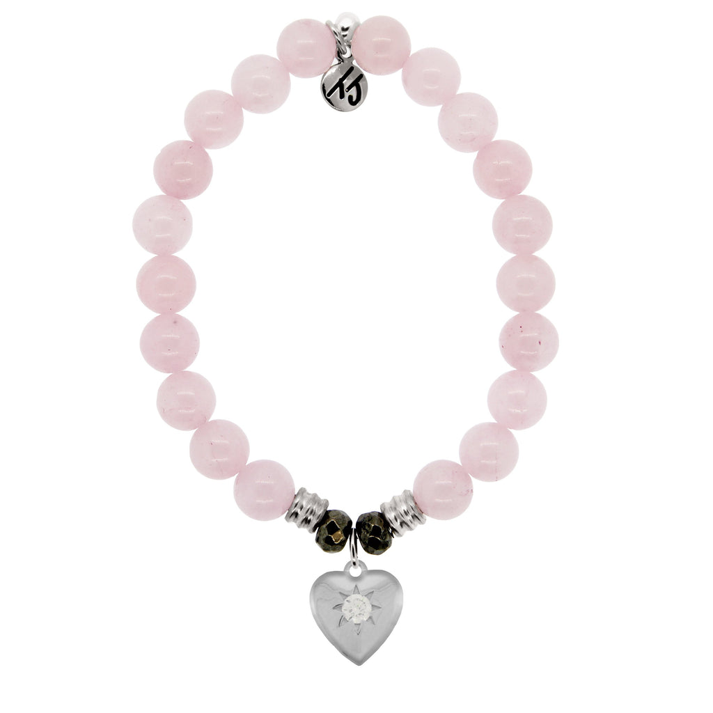 Rose Quartz Stone Bracelet with Self Love Sterling Silver Charm