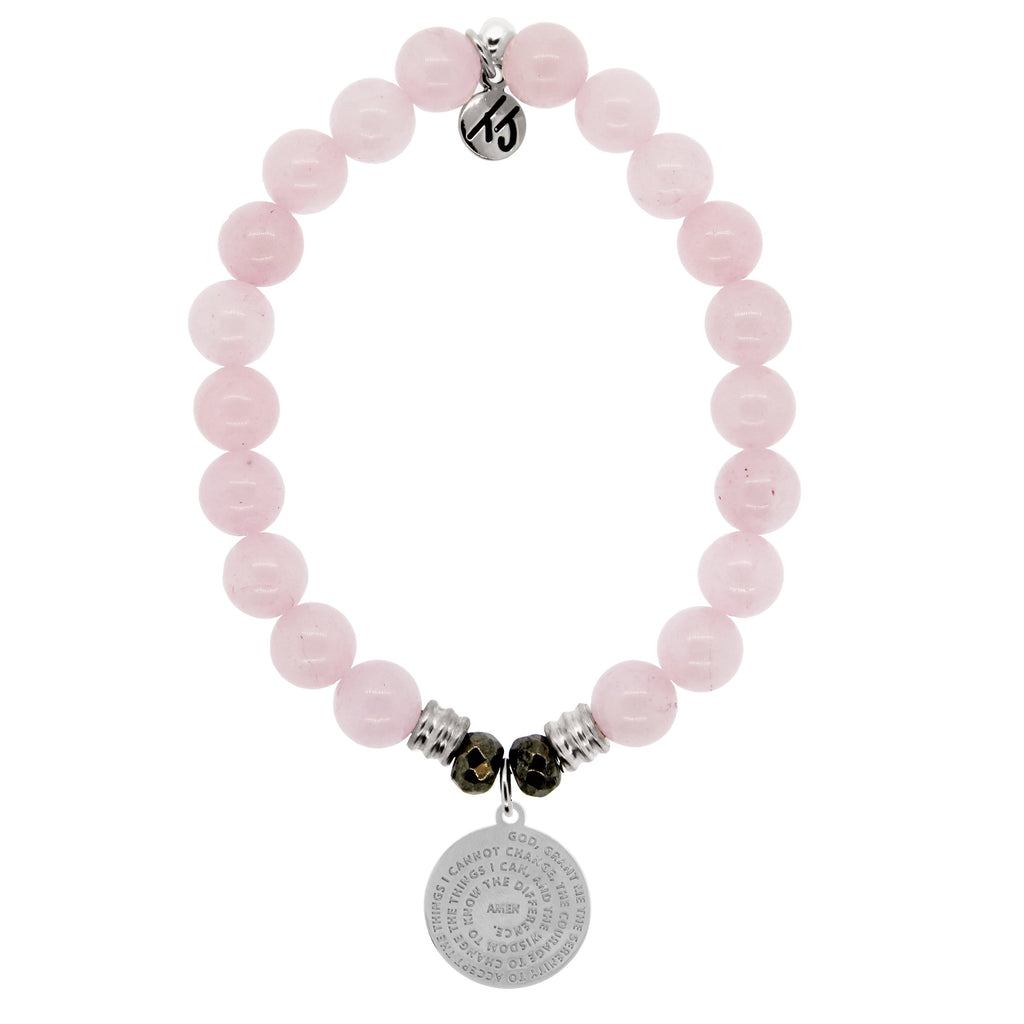 Rose Quartz Stone Bracelet with Serenity Prayer Sterling Silver Charm