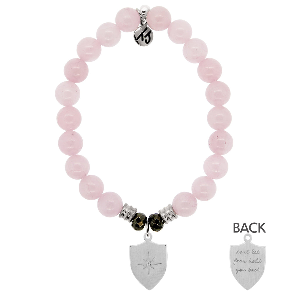 Rose Quartz Stone Bracelet with Shield of Strength Sterling Silver Charm