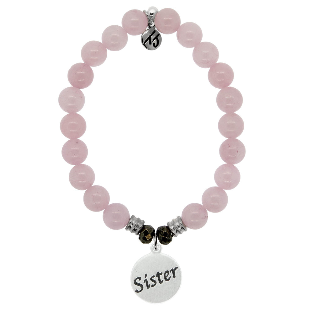 Rose Quartz Stone Bracelet with Sister Endless Love Sterling Silver Charm