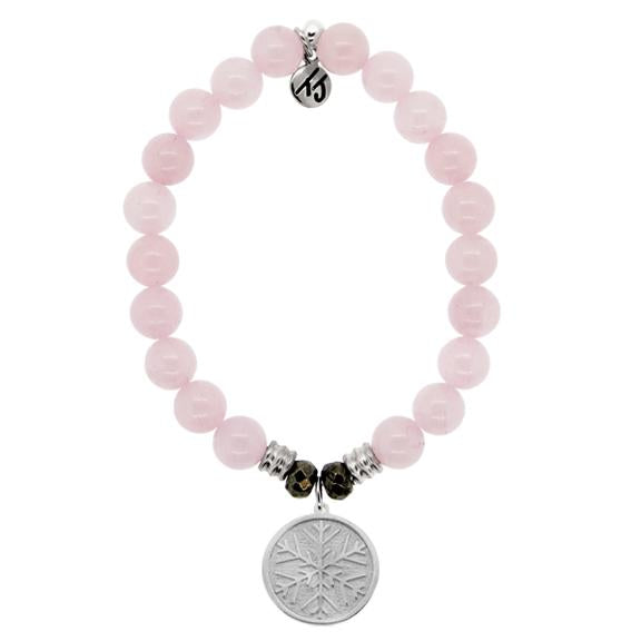 Rose Quartz Stone Bracelet with Snowflake Sterling Silver Charm