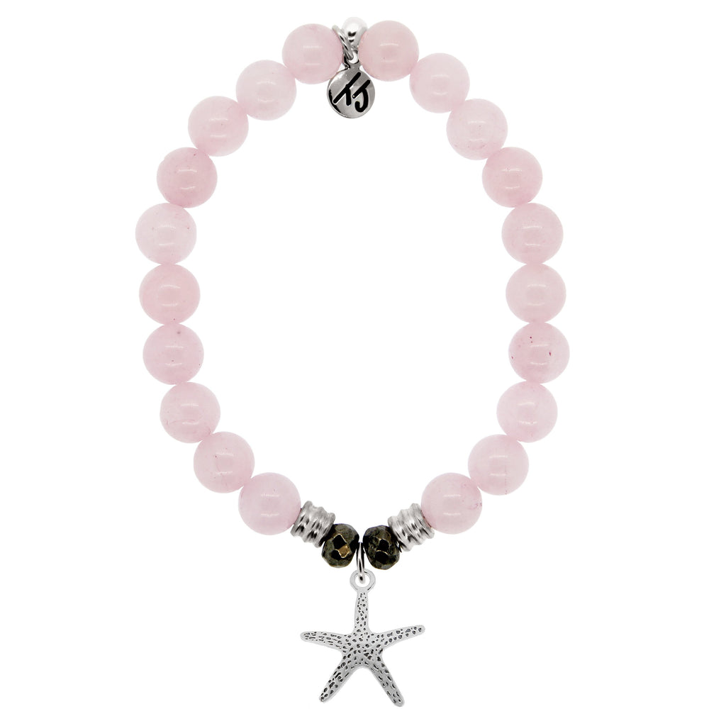 Rose Quartz Stone Bracelet with Starfish Sterling Silver Charm