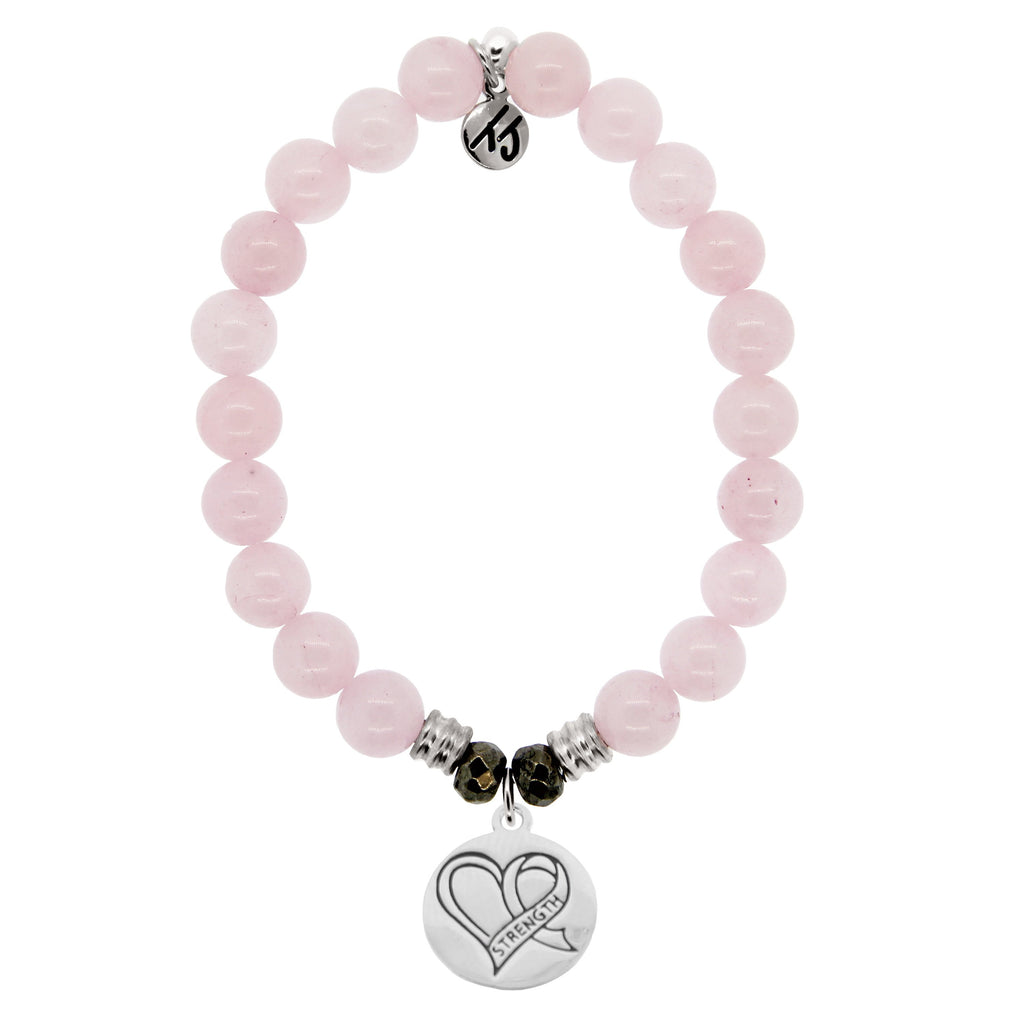 Rose Quartz Stone Bracelet with Strength Heart Sterling Silver Charm