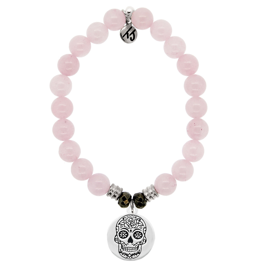 Rose Quartz Stone Bracelet with Sugar Skull Sterling Silver Charm