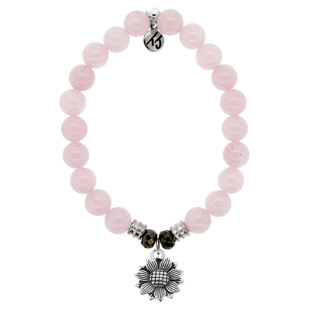 Rose Quartz Stone Bracelet with Sunflower Sterling Silver Charm
