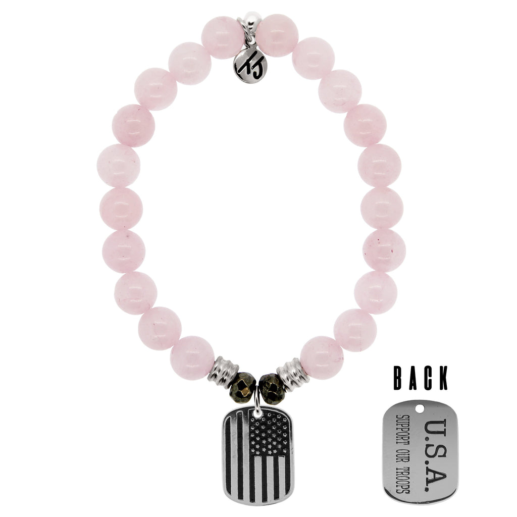 Rose Quartz Stone Bracelet with Support Our Troops Sterling Silver Charm