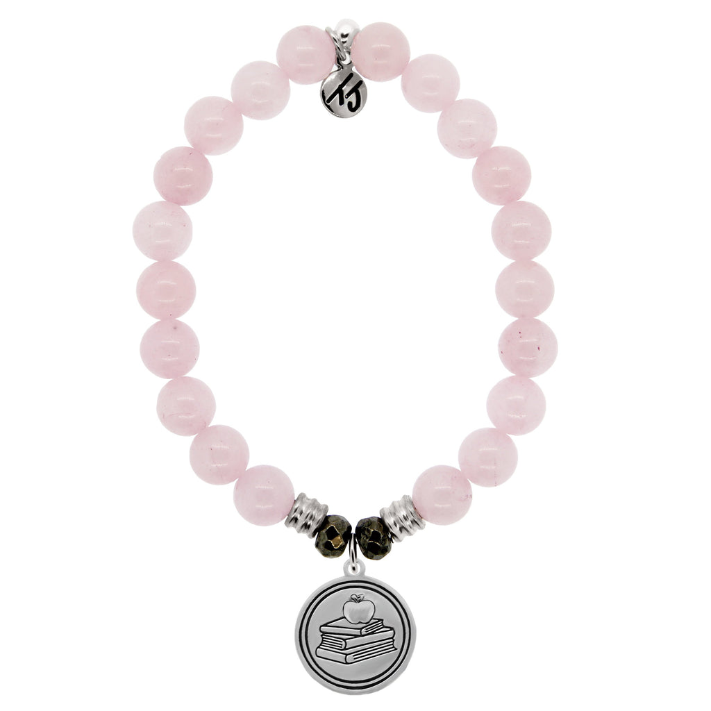 Rose Quartz Stone Bracelet with Teacher Sterling Silver Charm