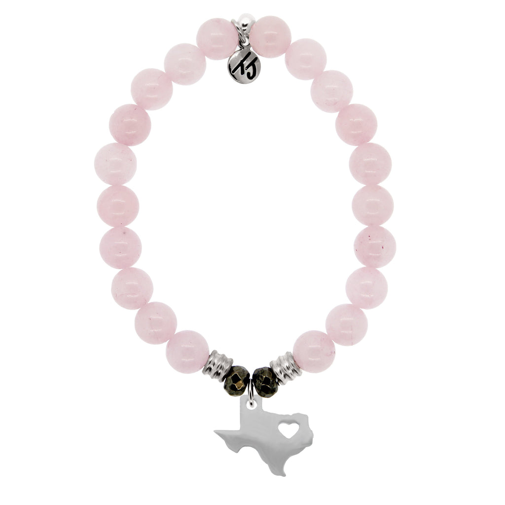 Rose Quartz Stone Bracelet with Texas Heart Sterling Silver Charm