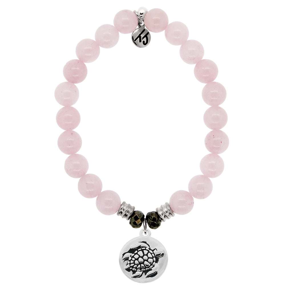 Rose Quartz Stone Bracelet with Turtle Sterling Silver Charm