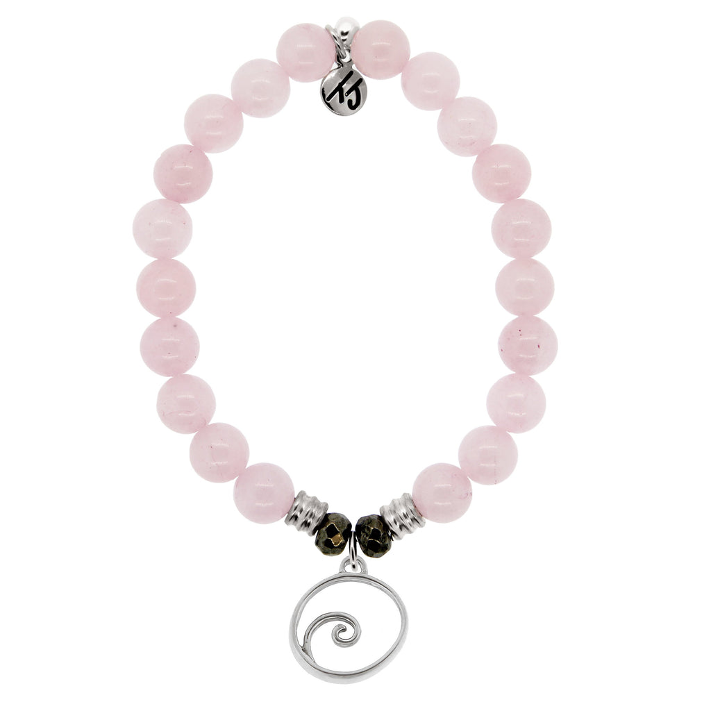 Rose Quartz Stone Bracelet with Wave Sterling Silver Charm