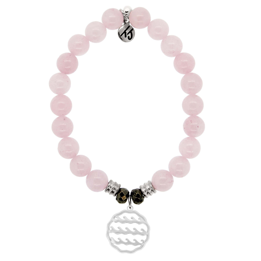 Rose Quartz Stone Bracelet with Waves of Life Sterling Silver Charm
