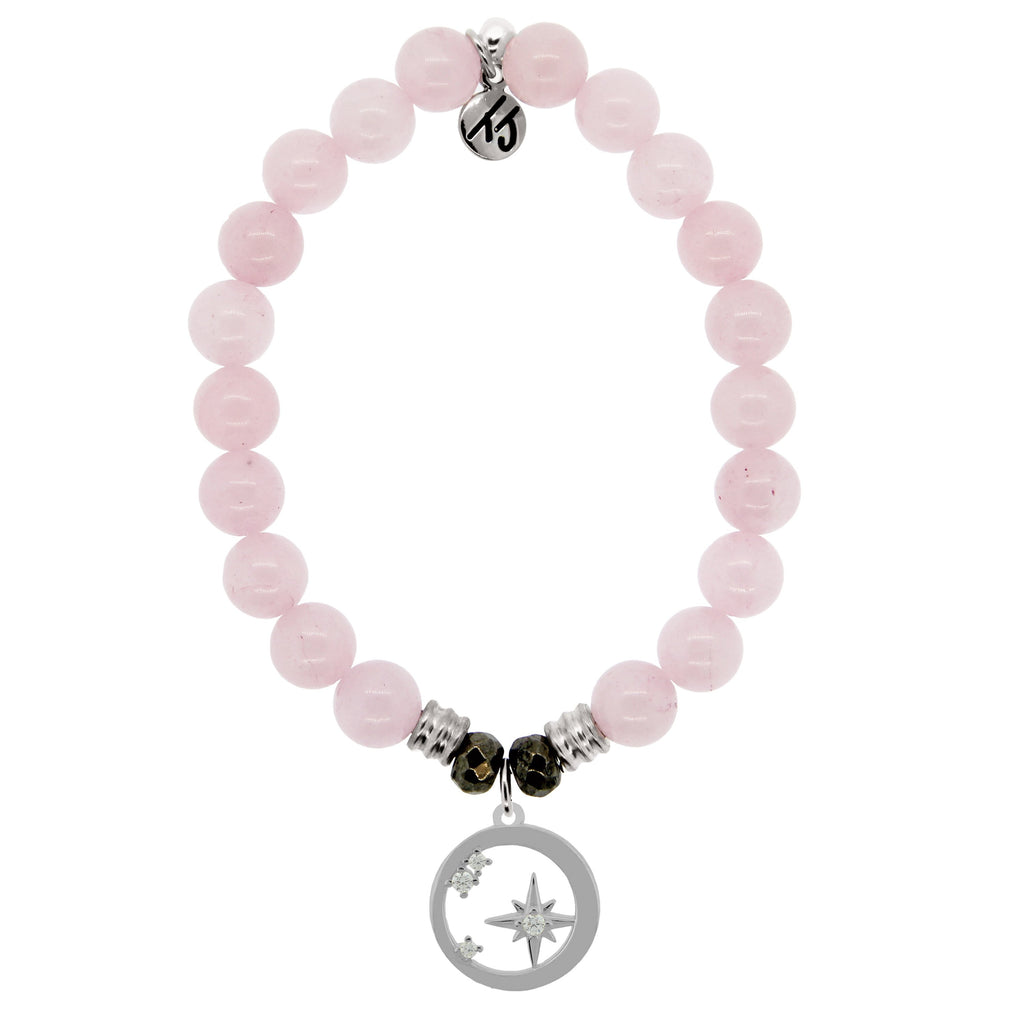 Rose Quartz Stone Bracelet with What is Meant to Be Sterling Silver Charm